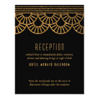 Gold Art Deco Fan Wedding Invitation Reception