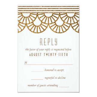 Gold Art Deco Fan Wedding Invitation Reply Card
