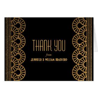 Gold Art Deco Fan Wedding Photo Thank You Note Card