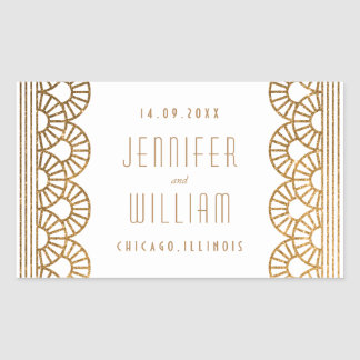 Gold Art Deco Gatsby Style Custom Wedding Sticker
