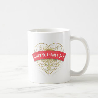 Gold Art Deco Heart Valentine's Day Coffee Mug