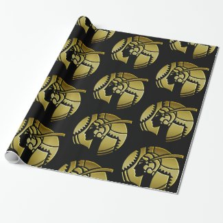 Gold Art Deco Lady Portrait Wrapping Paper