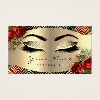 Gold Art Deco Makeup Artist Lashes Floral Red Rose Business Card
