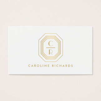 Gold Art Deco Monogram Initials Business Card