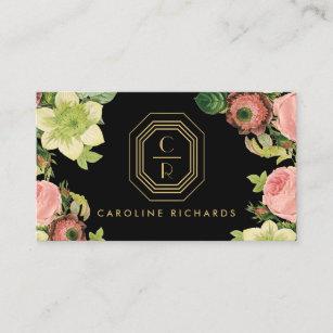 Vintage art deco business cards templates zazzle gold art deco monogram vintage florals black business card colourmoves