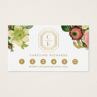 Gold Art Deco Monogram Vintage Florals Loyalty Business Card