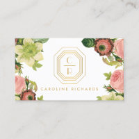 Gold Art Deco Monogram with Vintage Florals Business Card
