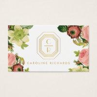 Gold Art Deco Monogram with Vintage Florals Business Card