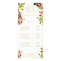 Gold Art Deco Monogram with Vintage Florals Rack Card