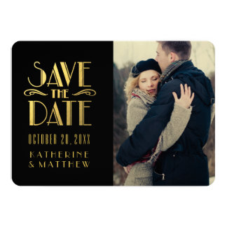 Gold Art Deco   Photo Save the Date Card