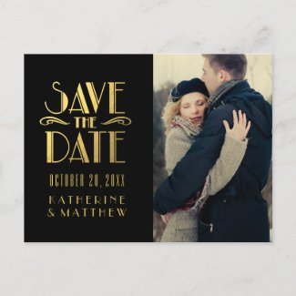 Gold Art Deco | Photo Save the Date Postcard