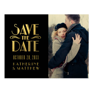 Gold Art Deco   Photo Save the Date Postcard