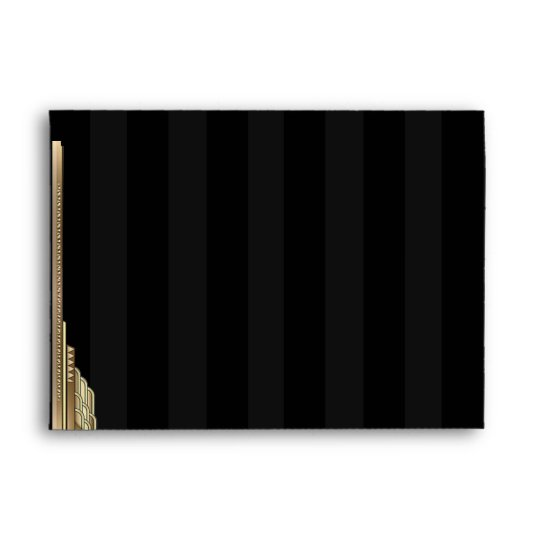 Gold Art Deco Stripe Wedding Envelope