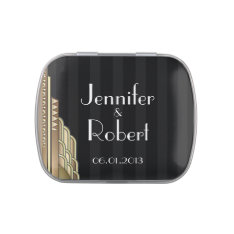 Gold Art Deco Stripe Wedding Favor Tin Jelly Belly Candy Tin at Zazzle