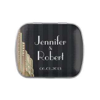 Gold Art Deco Stripe Wedding Favor Tin Jelly Belly Candy Tin