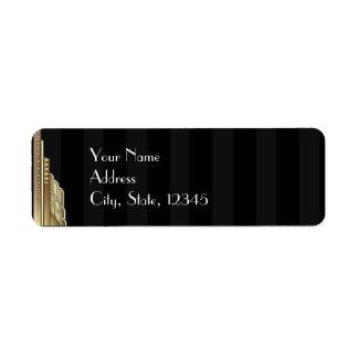 Gold Art Deco Stripe Wedding Label