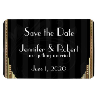 Gold Art Deco Stripe Wedding Save the Date Magnet