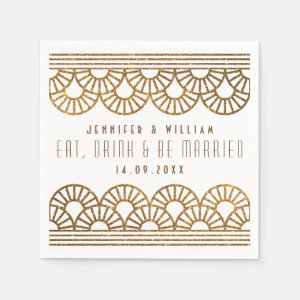 Gold Art Deco Wedding Reception Cockatil Napkin