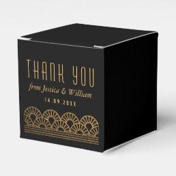 Gold Art Deco Wedding Reception Guest Favor Box