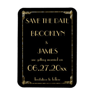 Gold Art Deco Wedding Save The Date Magnet Black