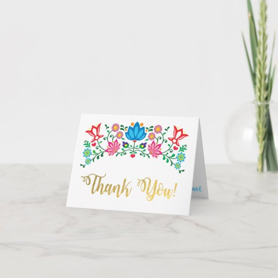 gold art mexican fiesta thank you note cards - Thank You Note Cards