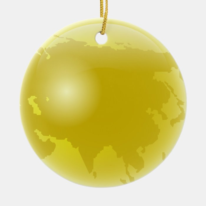 Gold Asia Globe Ceramic Ornament