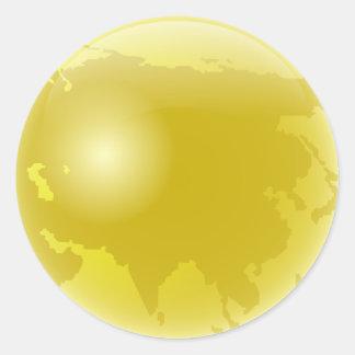 Gold Asia Globe Round Stickers