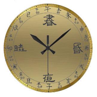 gold asian numerals wall clock