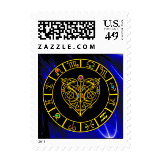 GOLD ASTRAL HEART ZODIAC SIGN CHART Astrology Postage