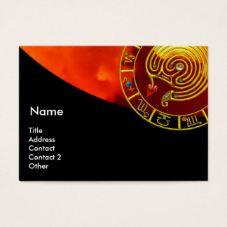 GOLD ASTRAL LABYRINTH,ASTROLOGY ZODIAC CHART Black Business Card