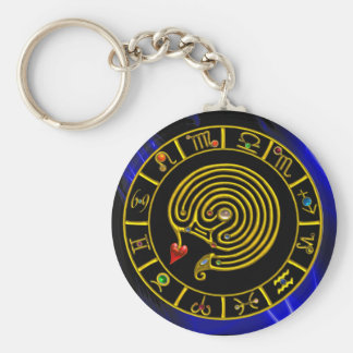 GOLD ASTRAL LABYRINTH,ZODIAC SIGNS Astrology Chart Basic Round Button Keychain