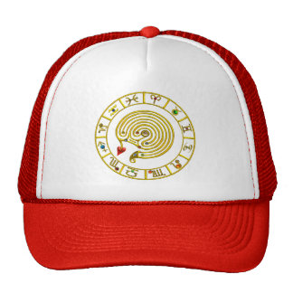 GOLD ASTRAL LABYRINTH,ZODIAC SIGNS Astrology Chart Trucker Hat