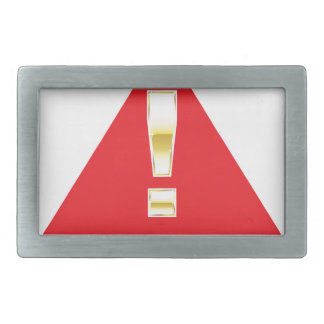 Gold Attention mark on red sign Caution Belt Buckle