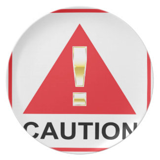 Gold Attention mark on red sign Caution Dinner Plate