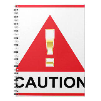 Gold Attention mark on red sign Caution Notebook
