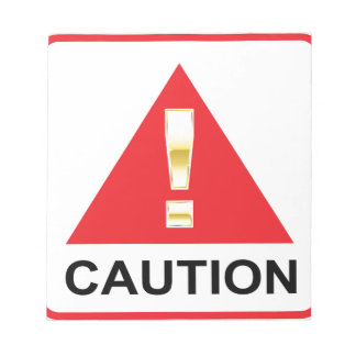 Gold Attention mark on red sign Caution Notepad