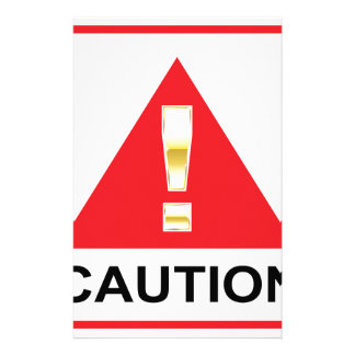 Gold Attention mark on red sign Caution Stationery