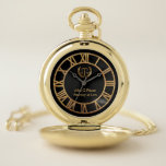 """Gold Attorney Scales of Justice Pocket Watch<br><div class=""""desc"""">Elegant Gold scales of justice attorney name template custom pocket watch. Perfect gift for lawyers,  judges or law students.</div>"""