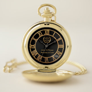 Gold Attorney Scales of Justice Pocket Watch