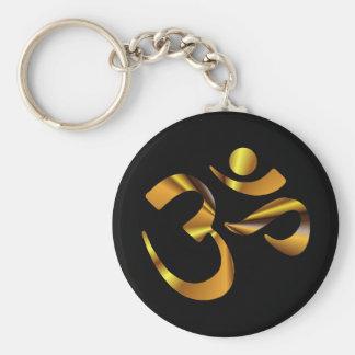 Gold Aum Basic Round Button Keychain