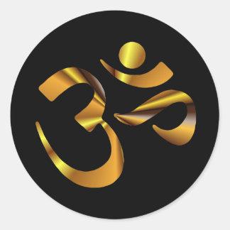 Gold Aum Classic Round Sticker