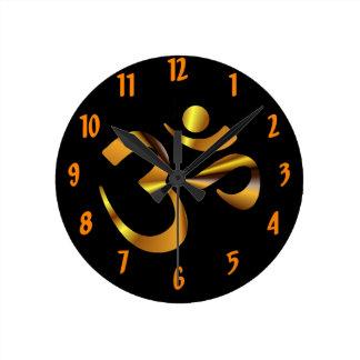 Gold Aum Round Clock
