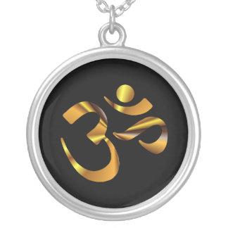 Gold Aum Round Pendant Necklace