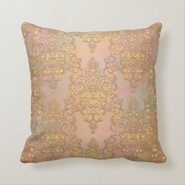 Antique Gold Decorative Pillows : Gold Aurora Fancy Antique Lace Damask Throw Pillow Zazzle