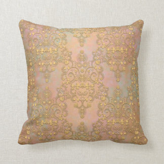 Gold Aurora Fancy Antique Lace Damask Throw Pillow