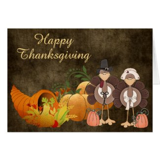 Gold Autumn Cute Turkey Couple Happy Thanksgiving Card