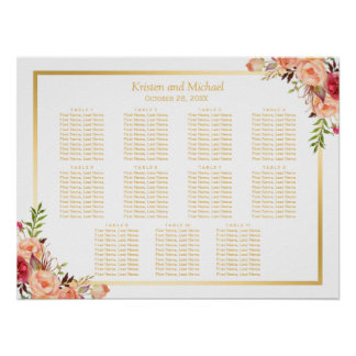 Gold Autumn Flowers Fall Wedding Seating Chart Poster