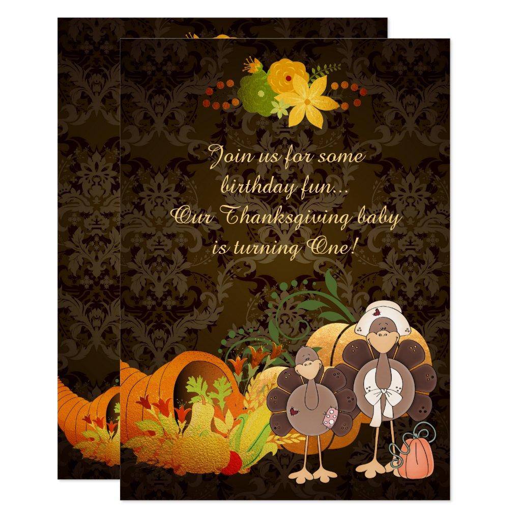 Gold Autumn Girl Turkey Thanksgiving 1st Birthday Card
