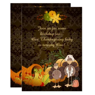 Gold Autumn Girl Turkey Thanksgiving 1st Birthday Card