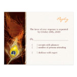 Gold Autumn Peacock Feather Wedding RSVP(4.25x5.6) Post Card